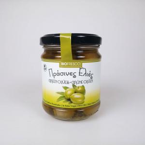 Olives biologiques vertes à l'huile d'olive vierge extra