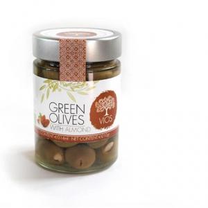 Olives biologiques vertes, farcies aux amandes